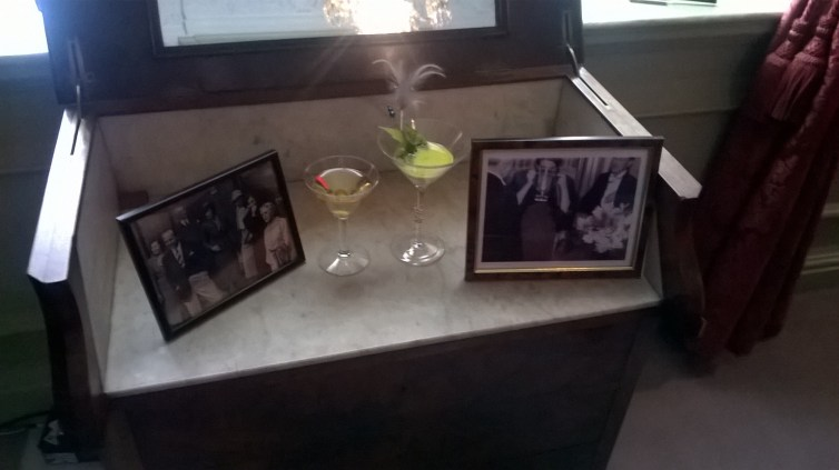 The windowsill of the 'Red Room', with Martini Glasses