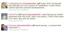 check ins left hands replies - check-ins left hands replies