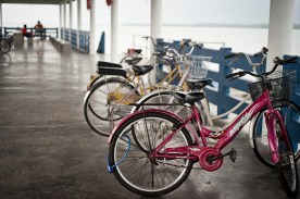 Bicycle is the main transport in the island.