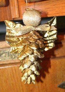 Golden Pine Cone Angel Ornament