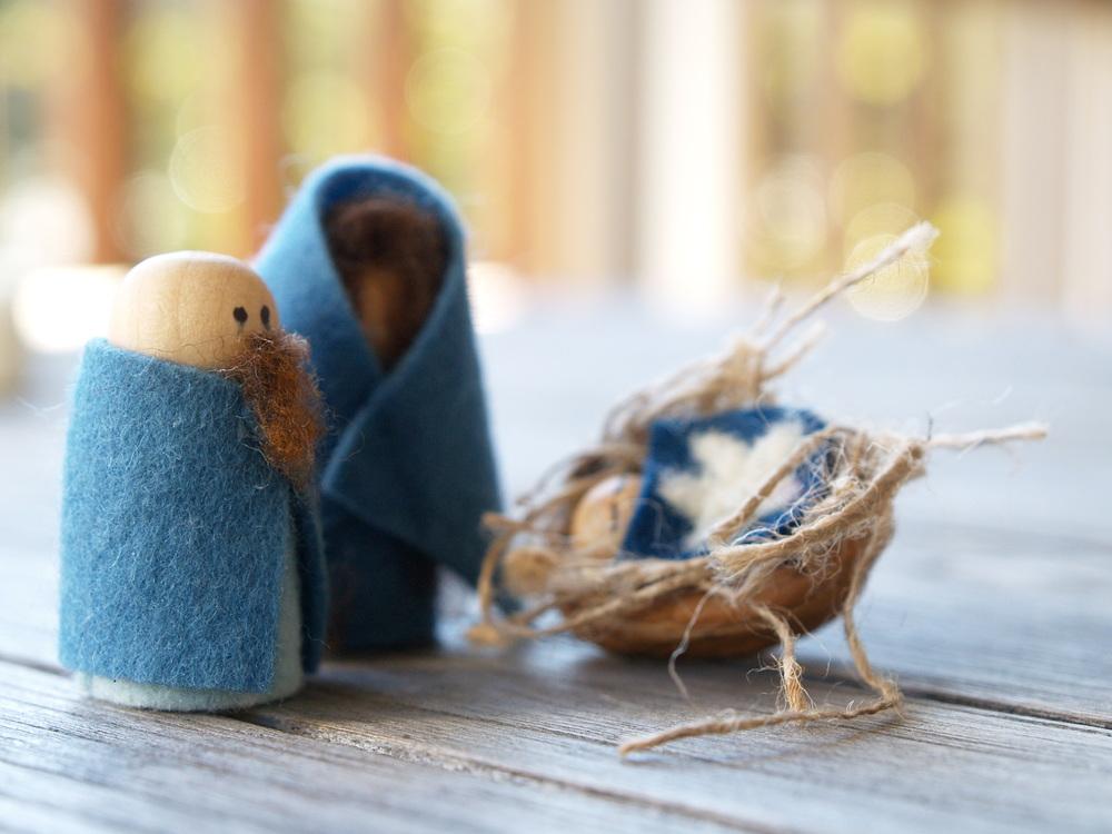 Tiny Handmade Mary And Joseph