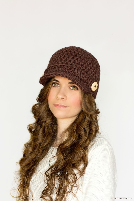 Brown Crochet Newsboy Hat Pattern