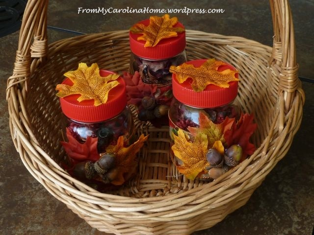 Autumn Themed Mason Jar Table Centerpieces