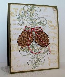 Elegant Joy Pine Cone Christmas Card