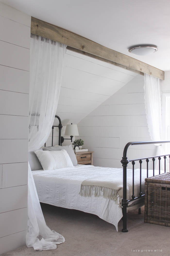 Wood Beam And Lace Canopy Curtains