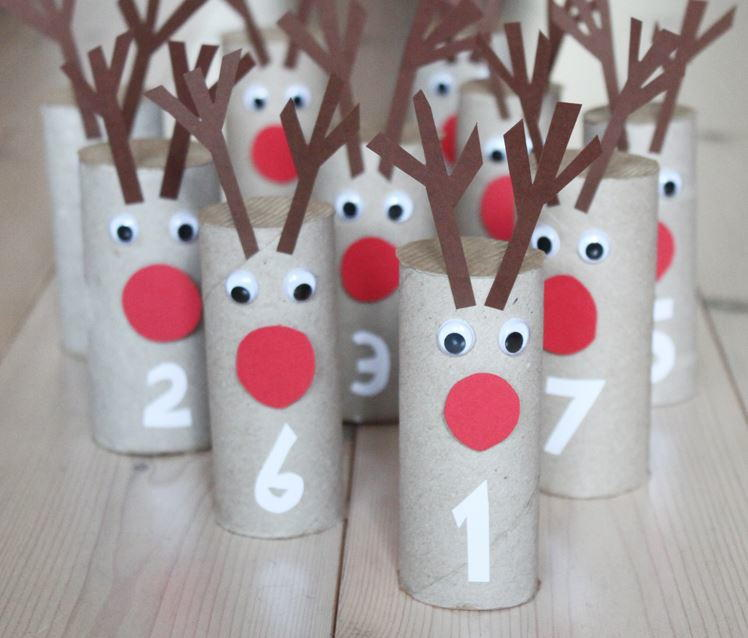 Rudolph Toilet Paper Roll Advent Calendar