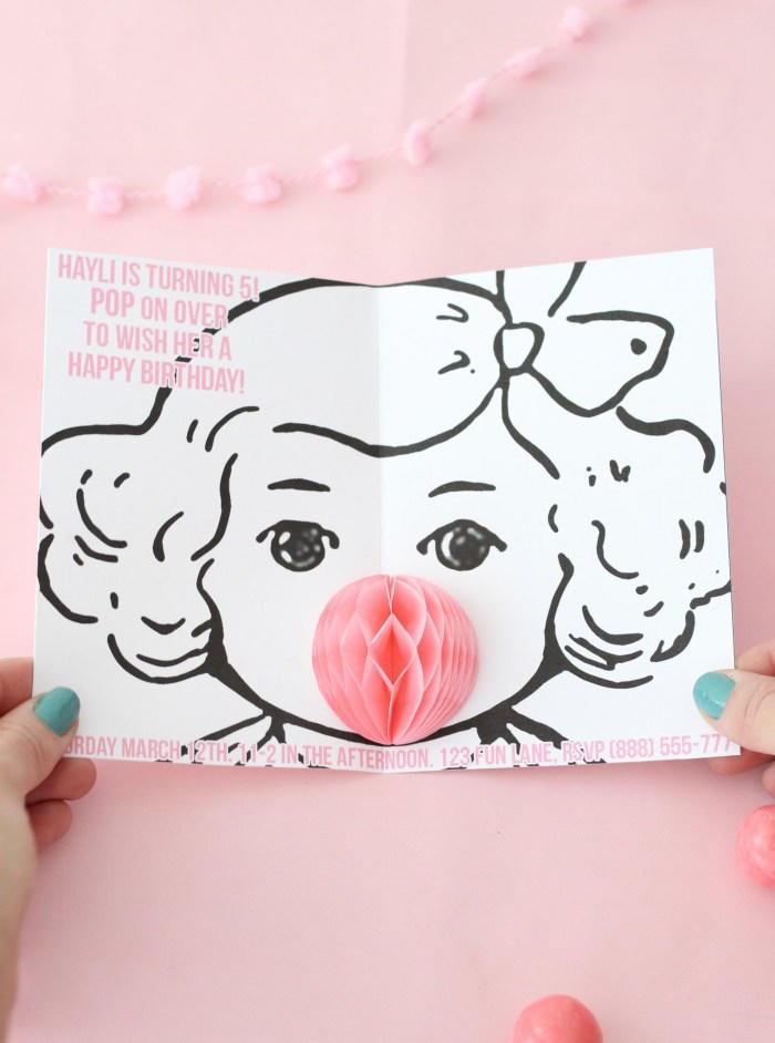 Bubble Gum DIY Pop Up Invitations