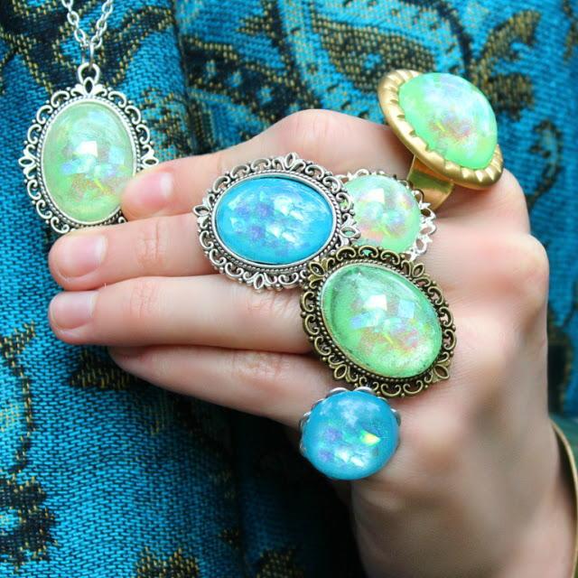 Faux Australian Opal Rings