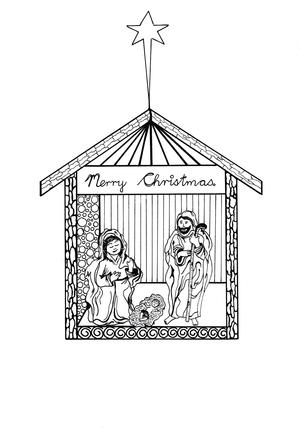 Free Printable Nativity Scene Coloring Pages Allfreechristmascrafts Com