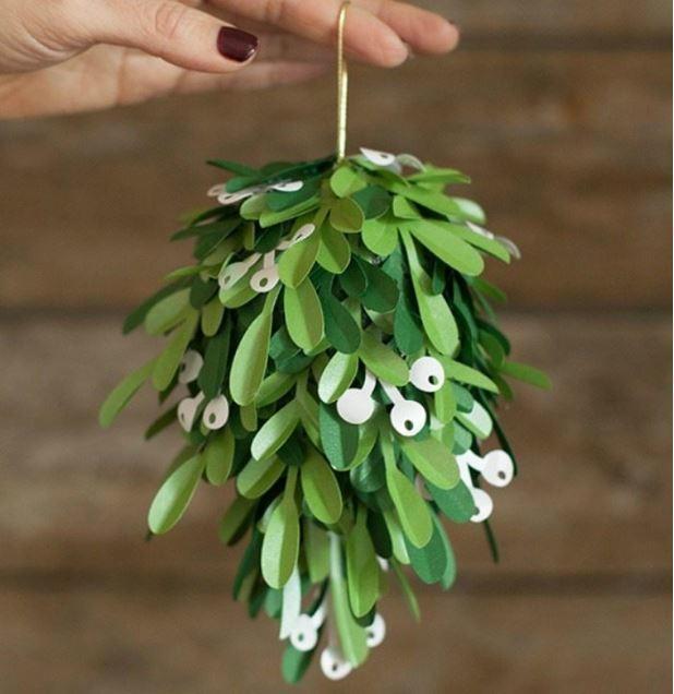 Printable Paper Mistletoe Kissing Ball