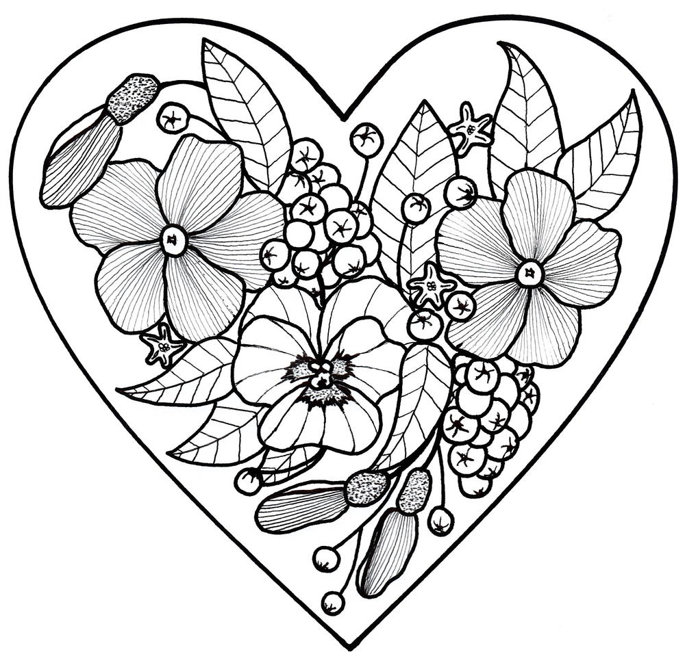 All My Love Adult Coloring Page | FaveCrafts.com | coloring pictures for adults flowers