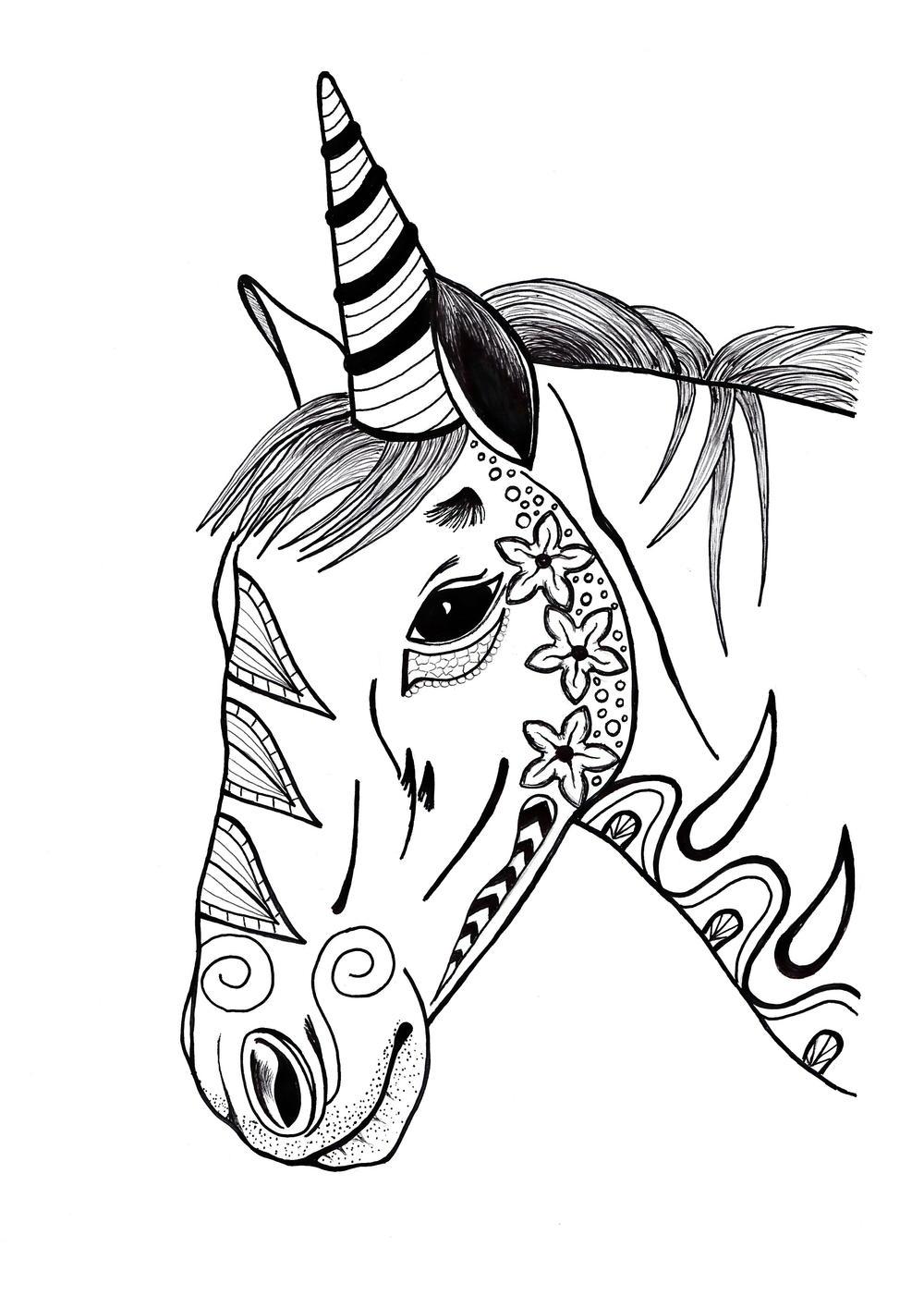 Toned Unicorn Zentangle Two