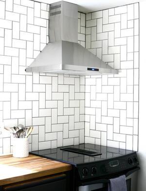straight herringbone tile backsplash