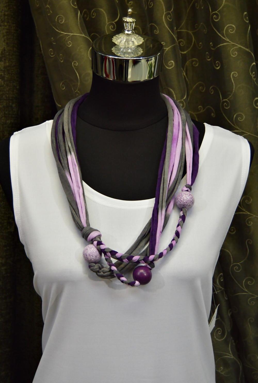 Royal Purple T Shirt Yarn Necklace