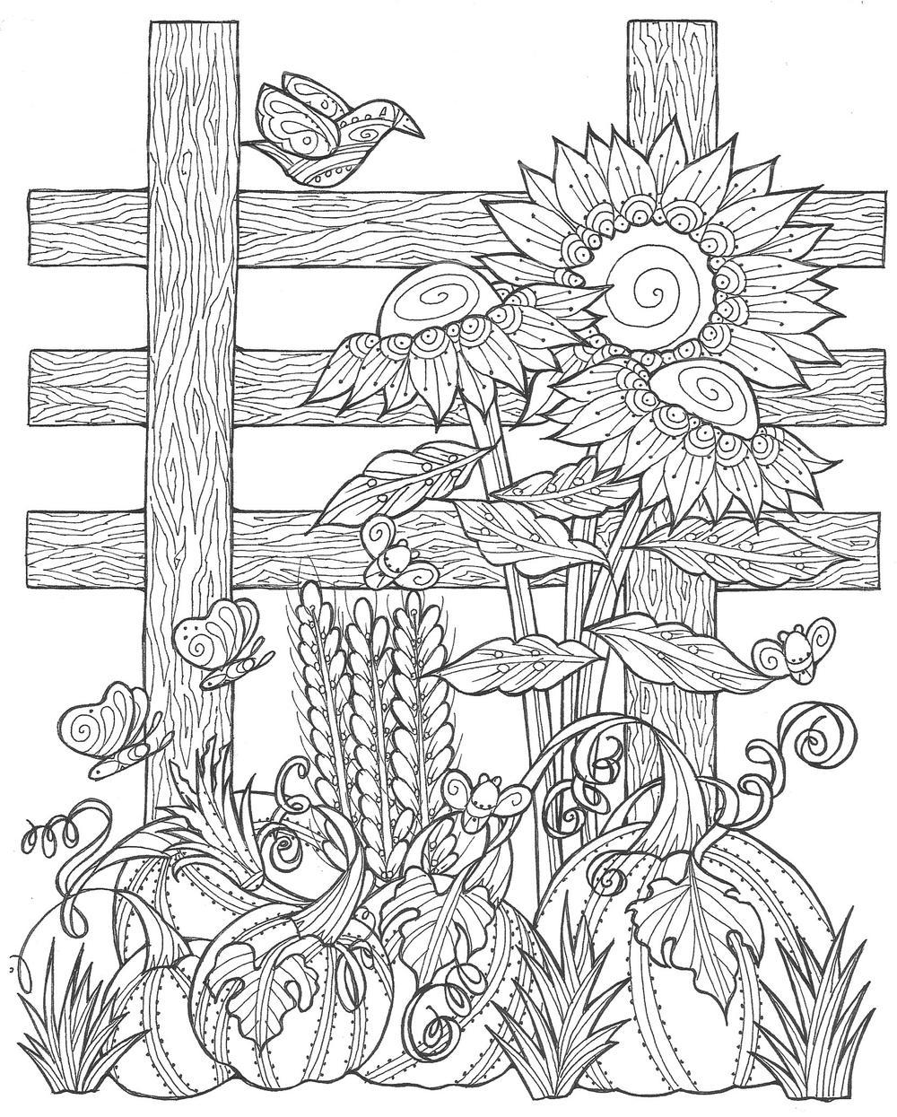 Sunflower Pumpkin Patch Coloring Page Pdf Favecrafts Com