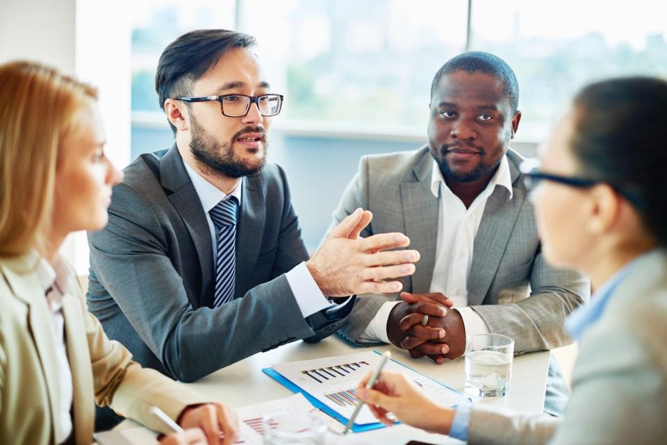 employer explaining company values to employees