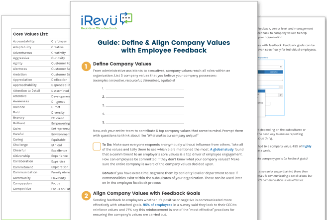 Company values printable mock up