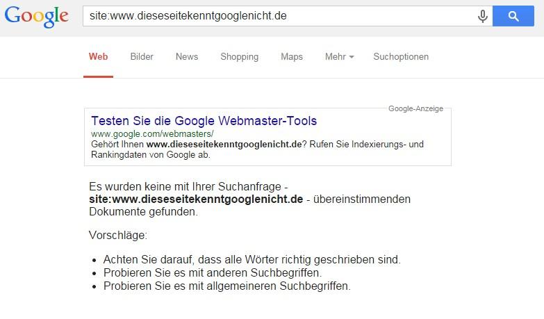 Screenshot Suchabfrage Google unbekannte Seite