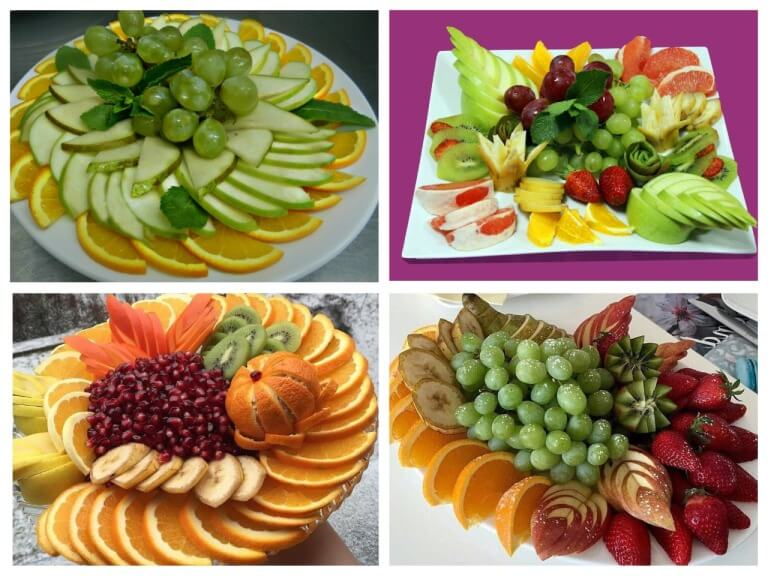 Smuk udsmykning af frugtplader på et festligt bord derhjemme