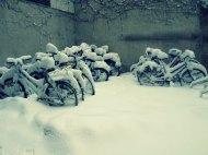 Fahrräder Schnee Innenhof