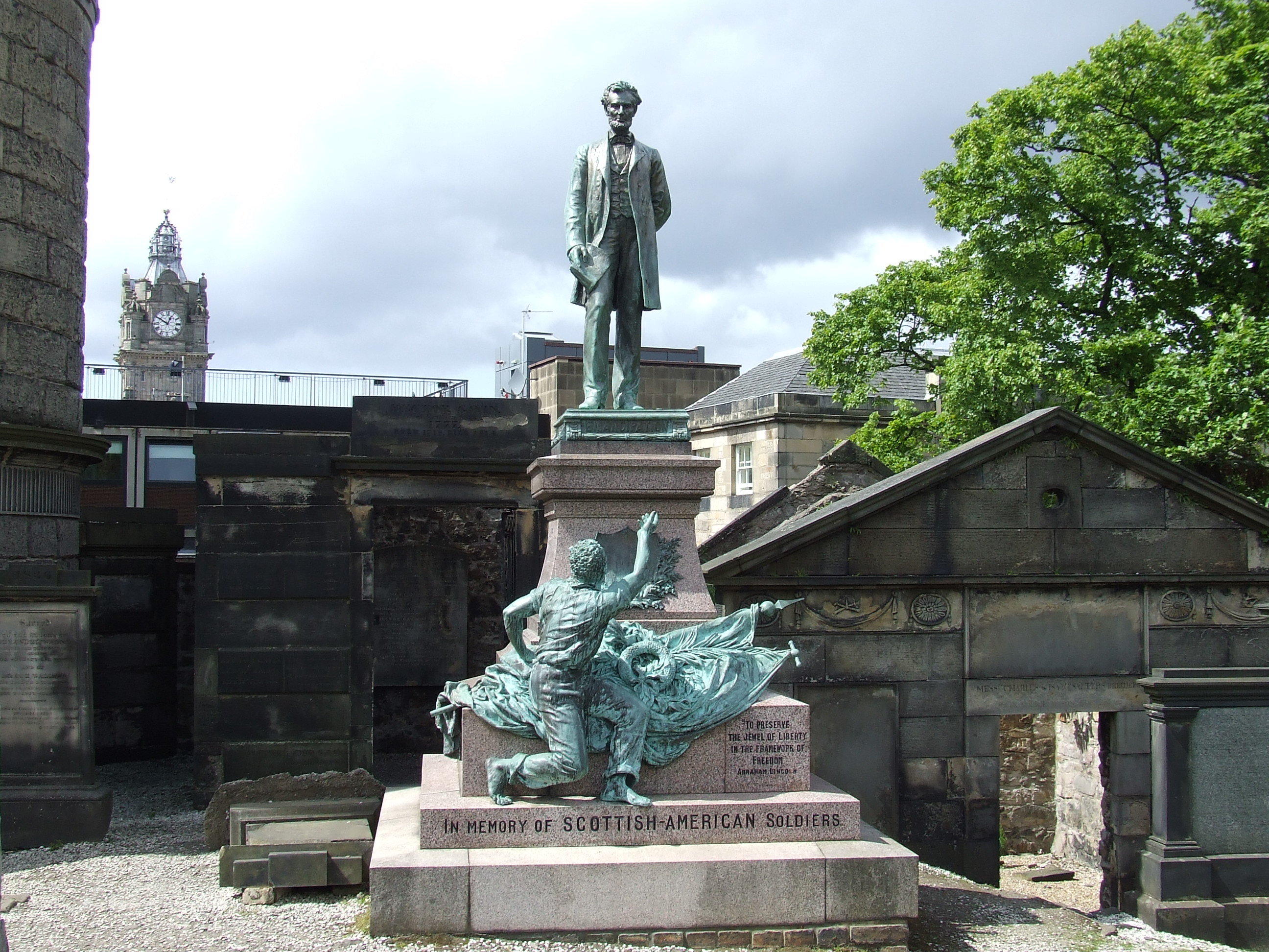 The American Civil War Memorial in Old Calton Cemetery, Edinburgh