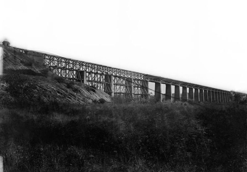 High Bridge, Farmville Virginia. Thomas Alfred Smyth led his brigade across this bridge shortly before his mortal wounding. The photo was taken by Irishman Timothy O'Sullivan (Library of Congress)