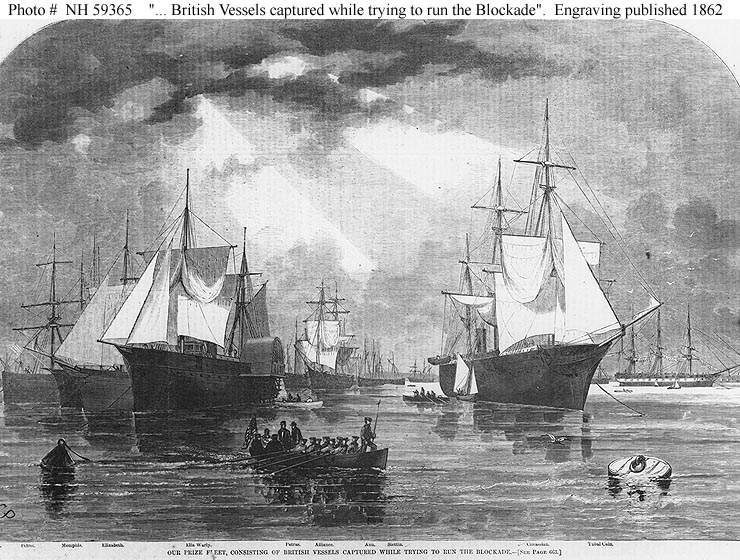 An 1862 Harper's Weekly engraving of captured blockade runners: The 'Circassian' is in the right foreground (Naval History and Heritage Command)