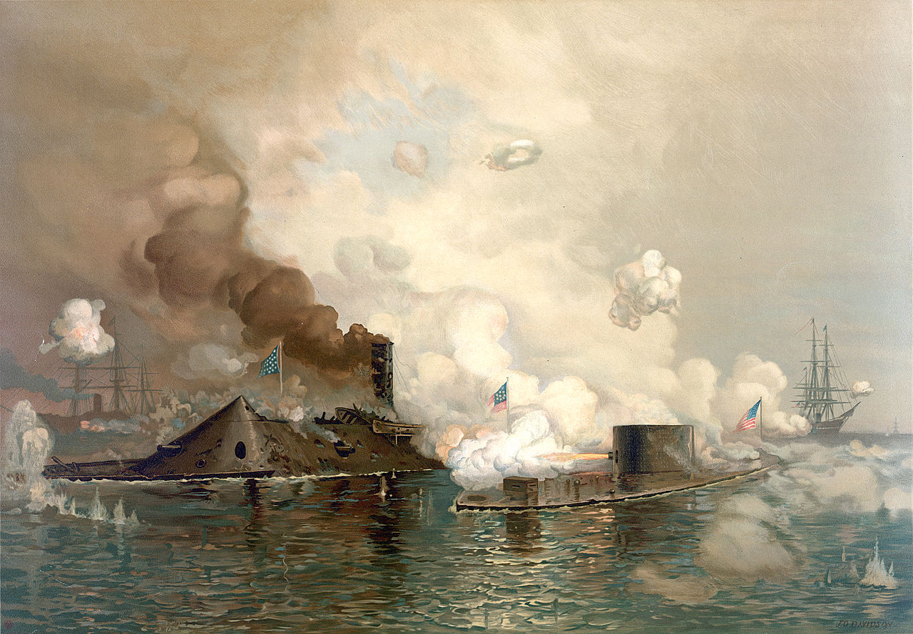 The USS Monitor and CSS Virginia do battle the day after James Leahy's death (Library of Congress)