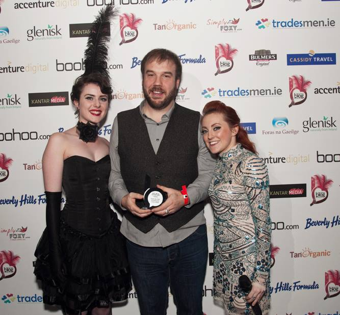 Picking up the award for Irish in the American Civil War at the Blog Awards Ireland (Blog Awards Ireland)