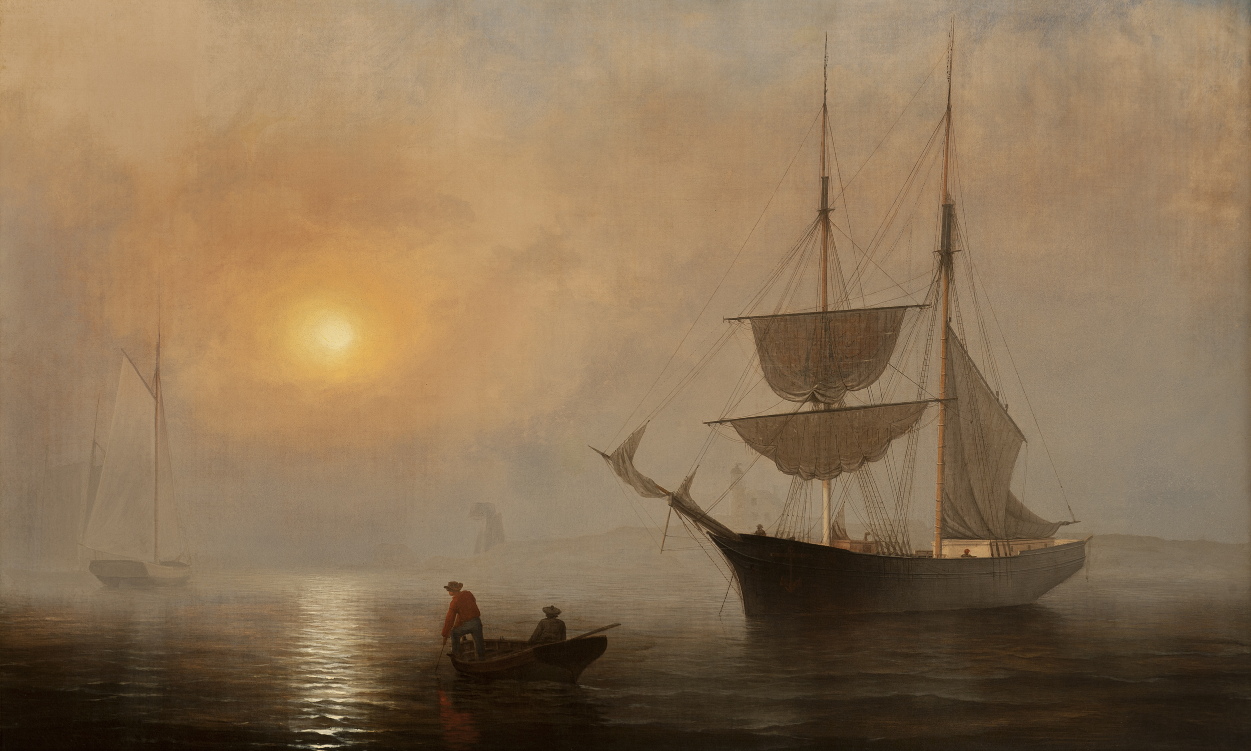 """Ships in Fog, Gloucester, Massachusetts"". Painted by Fitz Henry Lane in 1860, the same year John began his fishing career in Gloucester. Currently part of the Princeton University Art Museum (Fitz Henry Lane)"