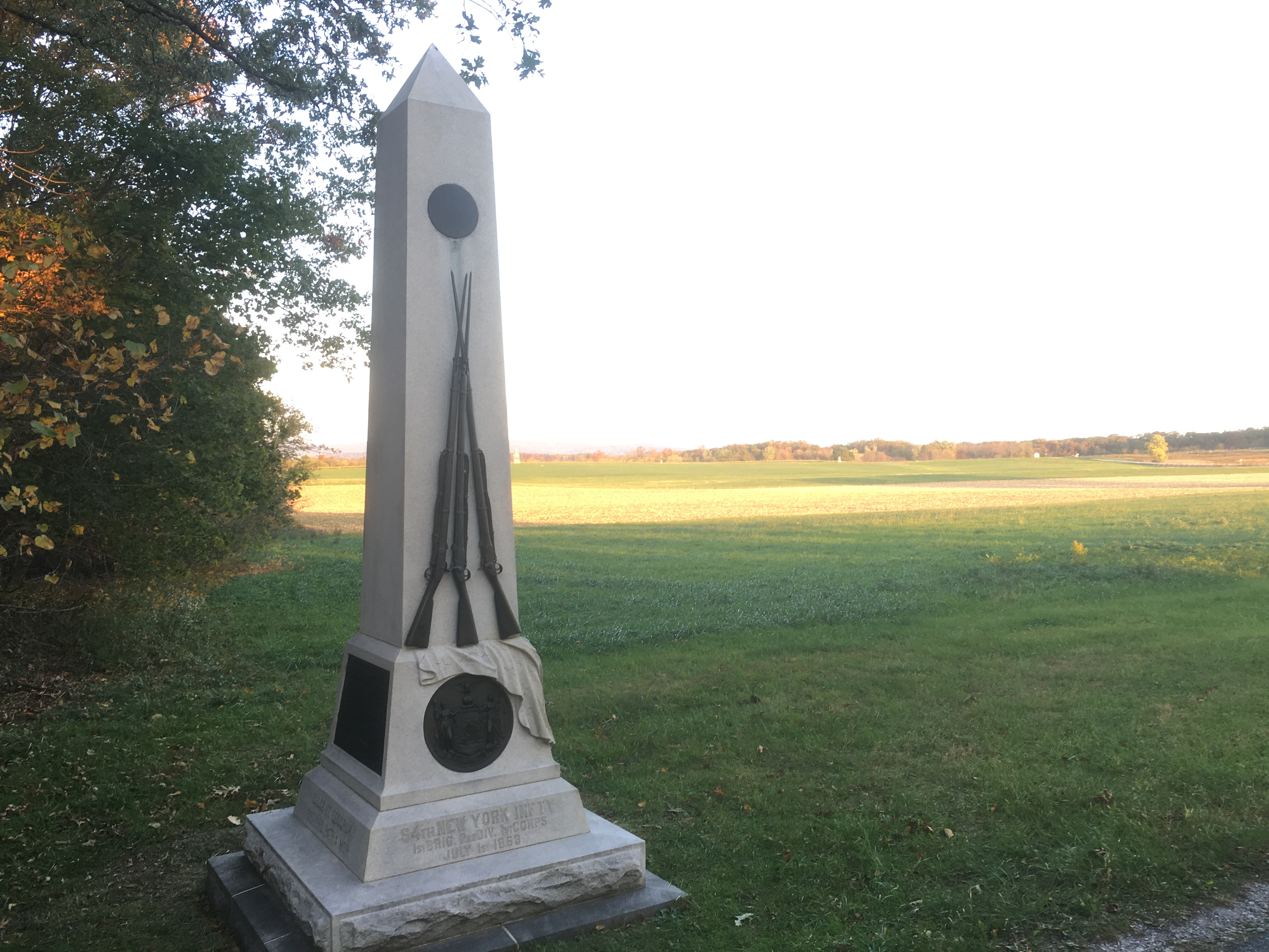 The 94th New York Infantry Memorial, Oak Ridge, Gettysburg (Damian Shiels)