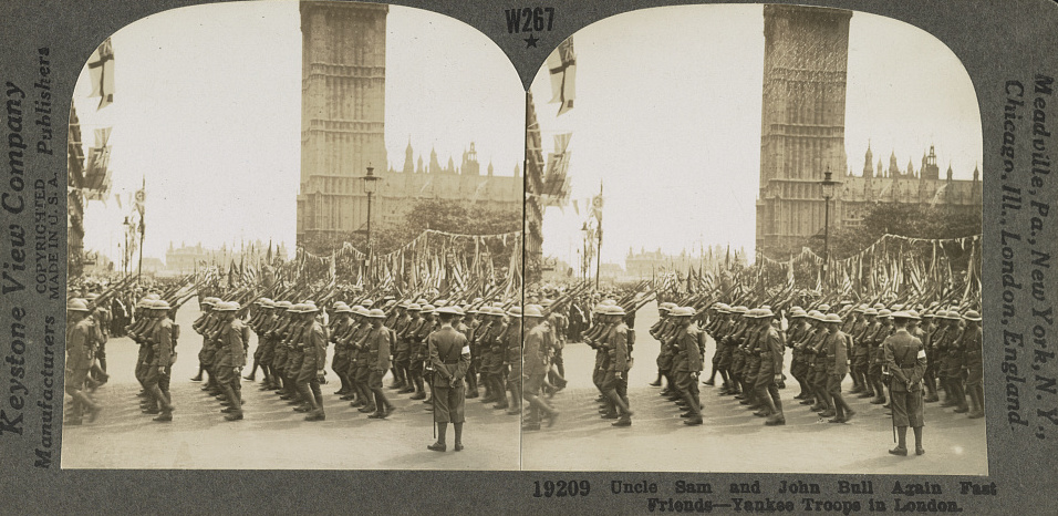 "A steroscope of American troops in London with the caption ""Uncle Sam and John Bull Again Fast Friends- Yankee Troops in London."" It was the bonds formed in the First World War that directly led to efforts in the North-East in the 1920s to remember local American Civil War Veterans (Library of Congress)"