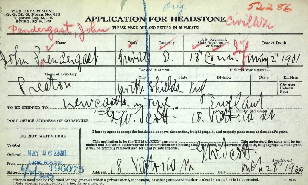 The headstone application for John Pendergast submitted by George Washington Scott in 1930 (NARA)