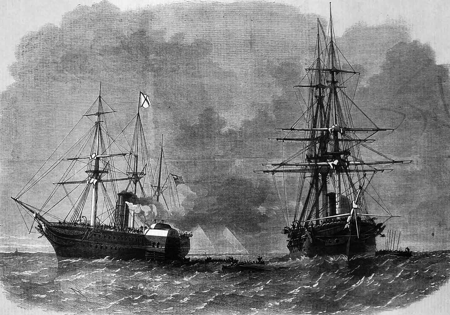 The USS San Jacinto intercepting to RMS Trent in 1861, an incident which caused major diplomatic fallout and which John Egan referenced in his letter of appeal (Illustrated London News)