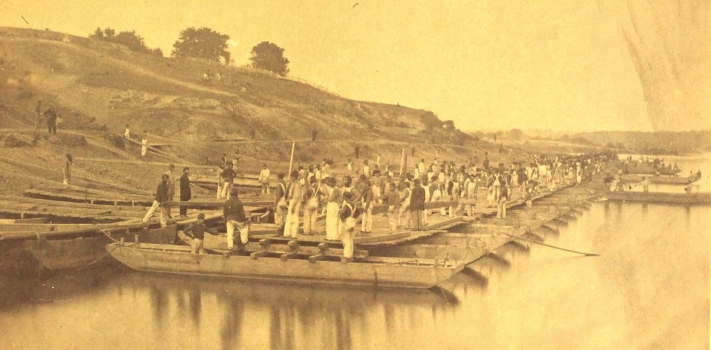 """Pontoon Drill by Conversion,"" Engineer Brigade (15th & 50th NY Engineers) (New York State Military Museum)"