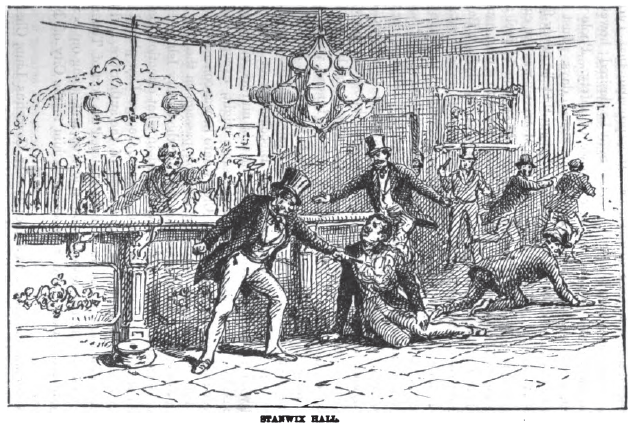 """The killing of Bill """"The Butcher"""" Poole as the Stanwix Hall. (via Murder by Gaslight)"""