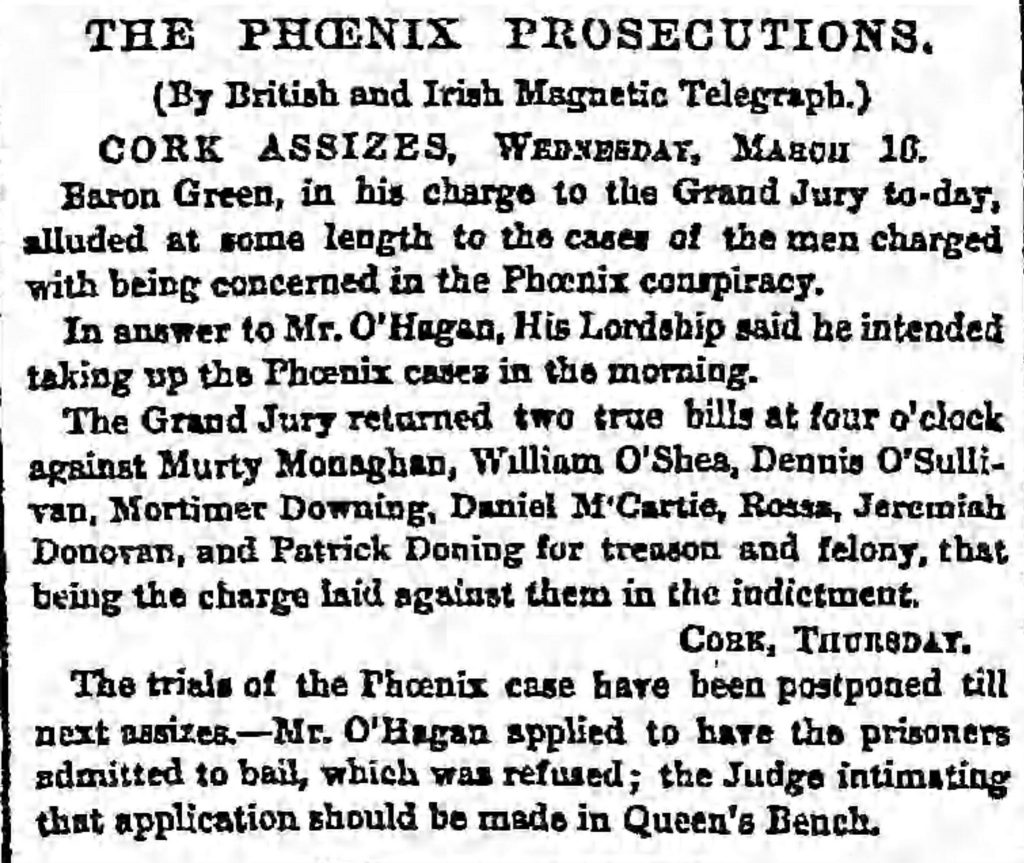 1859 coverage of the Phoenix prosecutions in the English press. Among those named are William O'Shea and Patrick Downing, both of whom would served in the 42nd New York Infantry during the Civil War (Manchester Guardian, 15th March 1859)