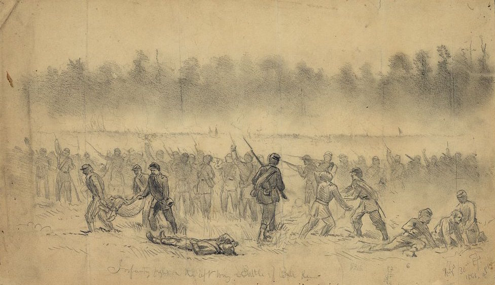 Union troops engaged at Second Bull Run, as sketched by artist Edwin Forbes (Library of Congress)