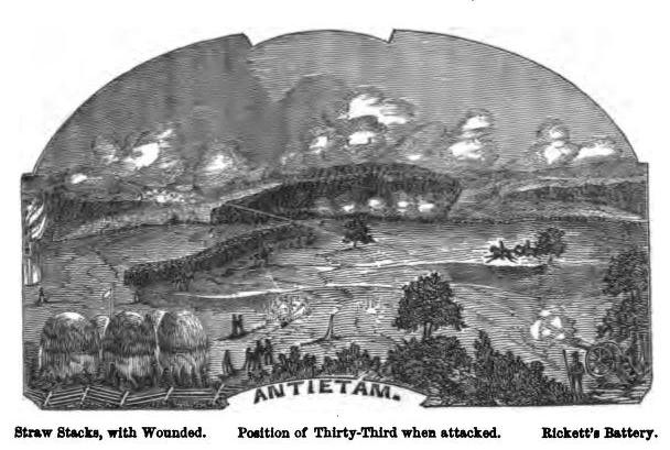 Depiction of the 33rd New York's action at Antietam in September 1862 (Story of the Thirty-Third)