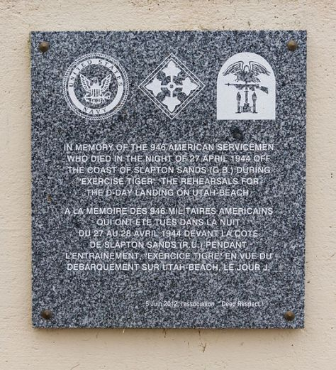 Memorial to those who lost their lives during Exercise Tiger located at Utah Beach, Normandy (Jebulon via Wikipedia)