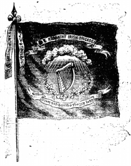 The flag of the new Irish Brigade. Now a familiar sight, this would have been the first time may Irish-Americans ever saw it. Printed on 7th December 1861 (New York Irish American)