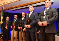 Valor Award presented to Yarmouth Police K-9 Nero, Yarmouth Police Officer Sean Geary, Massachusetts State Police Violent Fugitive Apprehension Section Sgt. Michael Turgeon and Yarmouth Police Officer Chris VanNess at the Irish American Police Officers Association Annual Awards Dinner held at The Malden Irish American Club in Malden on Saturday, May 4, 2019. Photography by David Sokol