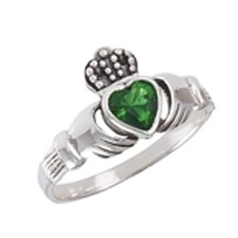 Ladies Green Gemstone/Silver Claddagh Ring
