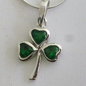Go Green! Sterling Silver Shamrock Necklace w/Synthetic Emeralds - $40.00