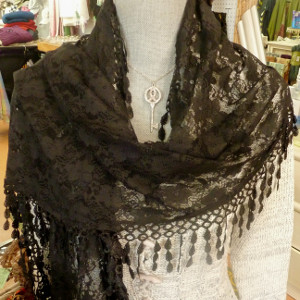 ALL HANDWORK! Black Irish Lace Scarf - Gorgeous! - $28.00