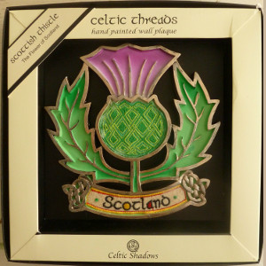 Celtic Threads Handpainted Scottish Thistle Wallhanging - $28.00