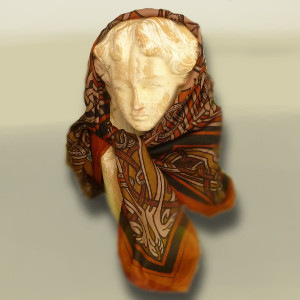 100% Silk Book of Kells Wolfhound Scarf - Rust -  $28.00