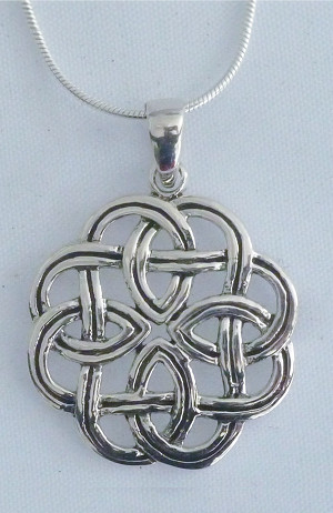 Sterling Silver Interwoven Celtic Knot Necklace - $53.00