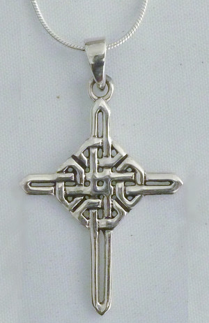 Sterling Silver Endless Knot Celtic Cross Necklace - $48.00
