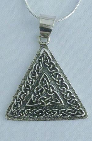 Sterling Silver Interwoven Triquetras Triangle Necklace - $45.00